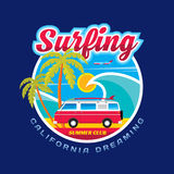 Surfing - California dreams - vector illustration concept in vintage graphic style for t-shirt and other print production. Stock Images