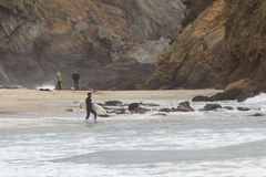 Surfing in California. Pfeiffer Beach, California - May 01 : Male surfer in a full suit surfing on the cold waves of the California coast, May 01 2015 Pfeiffer stock image
