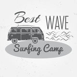 Surfing camp concept Vector Summer surfing retro badge. Surfing camp emblem , rv outdoors banner, vintage background. Boards, retr Stock Image