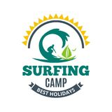 Surfing camp logo.  royalty free illustration