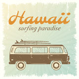 Surfing Car Poster Royalty Free Stock Photos