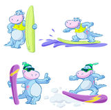 Surfing cartoon dinosaur Royalty Free Stock Photo