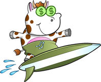 Surfing Cash Cow Vector Royalty Free Stock Photos