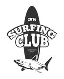 Surfing club logo with board and shark Royalty Free Stock Photos