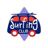 Surfing club logo, retro badge for surf school, beach rest, summer water sports vector Illustration. Isolated on a white background Stock Image