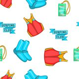 Surfing club pattern, cartoon style Stock Image