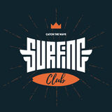Surfing club - Vector label, badge or design elements. Royalty Free Stock Photography