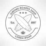Surfing company label logo made in modern grunge Royalty Free Stock Photos