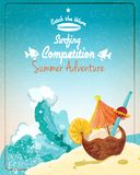 Surfing competition poster Royalty Free Stock Images