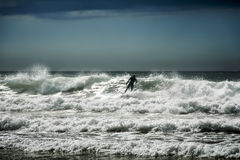 Surfing in Cornwall Royalty Free Stock Photography