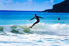 Surfing in cornwall very popular now Royalty Free Stock Photo