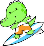 Surfing Crocodile. Cute Surfing Crocodile Vector Illustration Royalty Free Stock Images