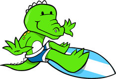 Surfing Crocodile. Cute Surfing Crocodile Vector Illustration Stock Photos