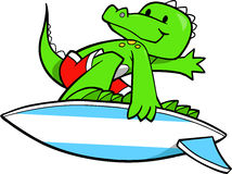 Surfing Crocodile Royalty Free Stock Images