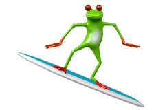 Surfing - 3D frog Royalty Free Stock Photo