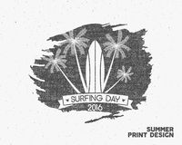 Surfing day label graphic elements. Vector Tropical typography emblem on watercolor monochrome background. Surfer party Stock Images