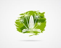 Surfing day label graphic elements. Vector Vacation typography emblem on watercolor ink splash symbol. Surfer party Royalty Free Stock Photos