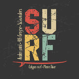Surfing design graphics for t-shirt, vintage design Royalty Free Stock Photo