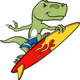 Surfing Dinosaur. T-rex Surfing Dinosaur Vector Illustration Royalty Free Stock Images