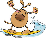 Surfing dog cartoon illustration Stock Photo