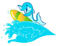 Surfing with dolphin. A illustration of a dolphin on a surfboarding Stock Photo