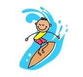 surfing dzieciaka Kreskówka dzieciaka wektoru ilustracja Obrazy Royalty Free