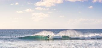 Surfing the Easter Island. Ocean, Chile royalty free stock photo