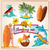 Surfing elements set. Beach surfing summer decorative elements set isolated vector illustration Stock Image