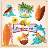 Surfing elements set Stock Image