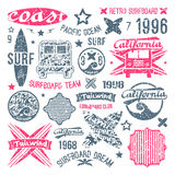 Surfing emblem and design elements. In retro style. Graphic design for t-shirt royalty free illustration
