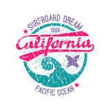 Surfing emblem. In retro style. Graphic design for t-shirt Royalty Free Stock Photos
