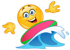Surfing emoticon Stock Image