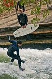 Surfing  at Englischer Garden in Munich Stock Images