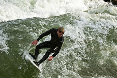 Surfing at Englischer Garden in Munich royalty free stock image