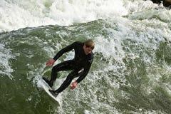 Surfing  at Englischer Garden in Munich Royalty Free Stock Image