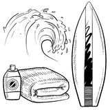 Surfing equipment sketch Royalty Free Stock Photo