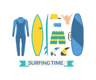 Surfing Equipment Vector Set Stock Images