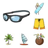 Surfing and extreme cartoon icons in set collection for design. Surfer and accessories vector symbol stock web. Surfing and extreme cartoon icons in set Royalty Free Stock Photography