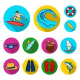 Surfing and extreme flat icons in set collection for design. Surfer and accessories vector symbol stock web illustration. Surfing and extreme flat icons in set Royalty Free Stock Photos