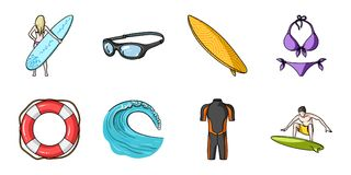 Surfing and extreme icons in set collection for design. Surfer and accessories vector symbol stock web illustration. Royalty Free Stock Photos