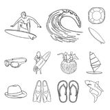 Surfing and extreme outline icons in set collection for design. Surfer and accessories vector symbol stock web. Surfing and extreme outline icons in set Royalty Free Stock Photography