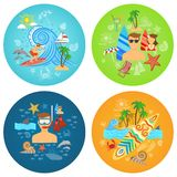Surfing Flat Set Royalty Free Stock Images