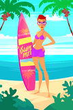 Surfing girl cartoon character.  vector illustration. Royalty Free Stock Photo