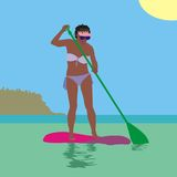 Surfing girl Stock Images