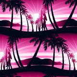 Surfing girl at sunrise seamless pattern Royalty Free Stock Image
