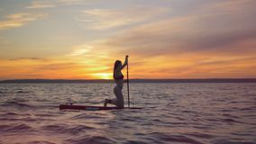 Surfing girl on a sunset background, side view. Sportswoman rows with her paddle on a surfing board. Sportswoman rows with her paddle on a surfing board stock video