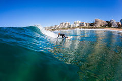 Surfing Girl Surfer Water Wave Action Stock Photography
