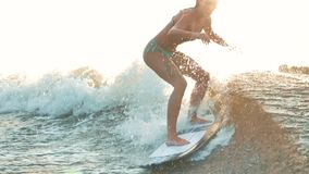 Surfing. Girl wakesurfing in the river and falls. Water extreme sport. Woman wakesurfing in water splashes at sunset. Girl riding wakeboard on summer river stock footage