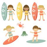 Surfing girls. Cute collection of surfing girls characters Royalty Free Stock Photos