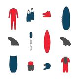 Surfing goods icons Stock Images